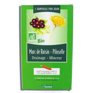 NATURLAND - EXTRAIT FLUIDE BIO - MARC DE RAISIN, PILOSELLE 